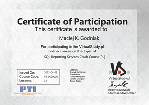 Certificate of participation in the course: SQL Reporting Services Crash Course