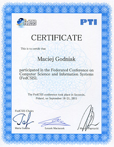 Certificate of participation in the Federated Conference on Computer Science and Information Systems (FedCSIS)