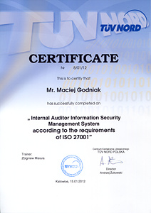 Certificate 'Internal Auditor Information Security Management System according to the requirements of ISO 27001'