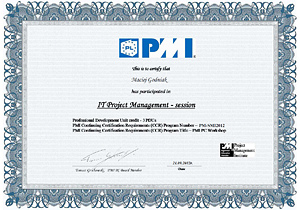 Certificate of participation in the PMI PC Workshop, IT Project Management Session