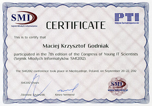 Certificate of participation in the Congress of Young IT Scientists (Sejmik Młodych Informatyków SMI'2012)