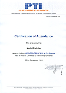 Certificate of attendence the KKIO/SCR/SMI/SPA 2014 Conference